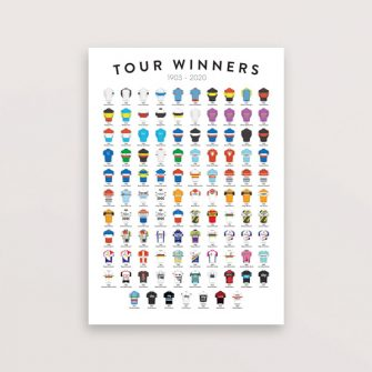 Cycling print showing tour de france winners is a popular cycling gift