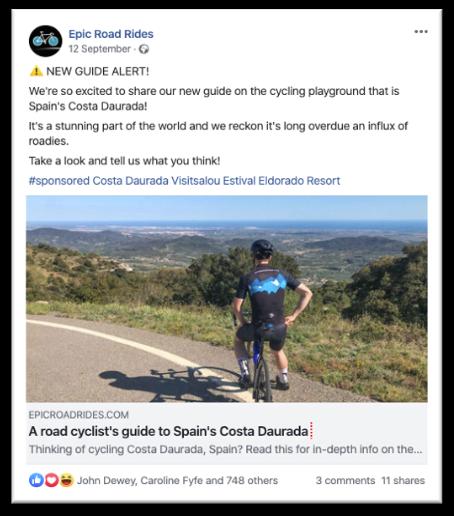 Social media post promoting destination