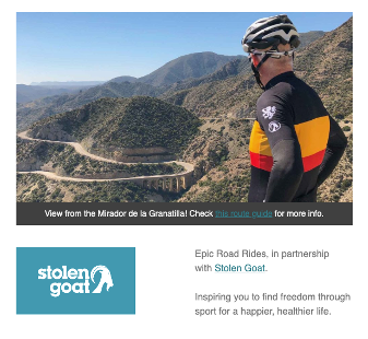 Email newsletter promoting cycling kit