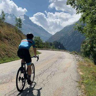 Cycling near Alpe d'Huez, French Alps