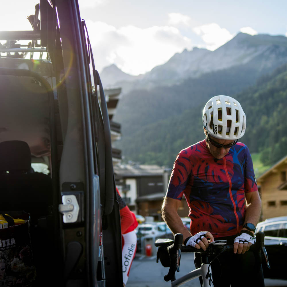 Cyclist getting ready for Routes des Grandes Alpes cycling tour