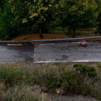 Cyclist on the famous route des grandes alpes, France