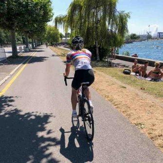Cycling Tour du Lac leman, cyclist coming into Geneva