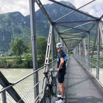 River Rhone bridge on the Cycling tour around lake geneva