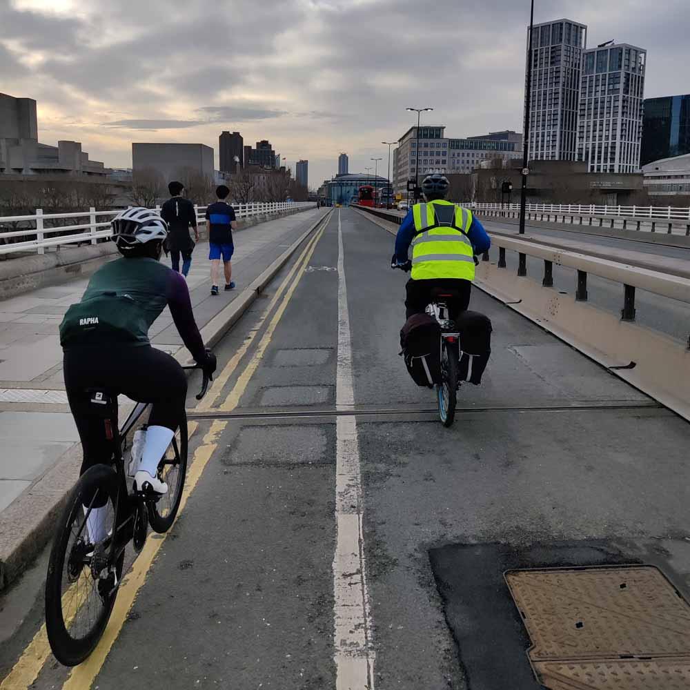 Cyclist in central London bike lane