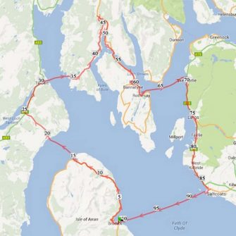 Five Ferries route map for cyclists