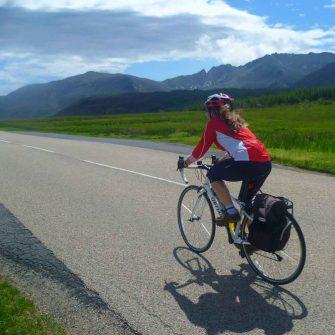 Cyclist on Isle of Arran Scotland