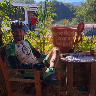 Veloguide relaxing at bakery Mexico