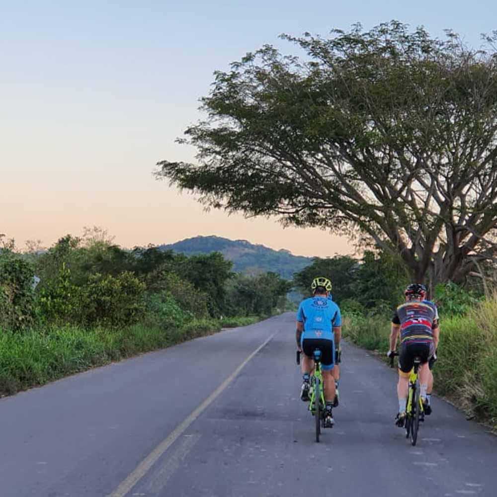 Cyclists cycling to San Blas Mexico
