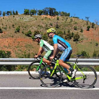 Cyclists on bike ride to San Blas Mexico