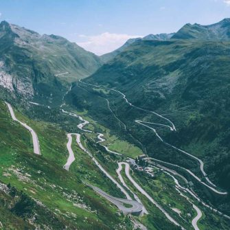 View from the top the Grimsel Pass looking over towards the Furka pass