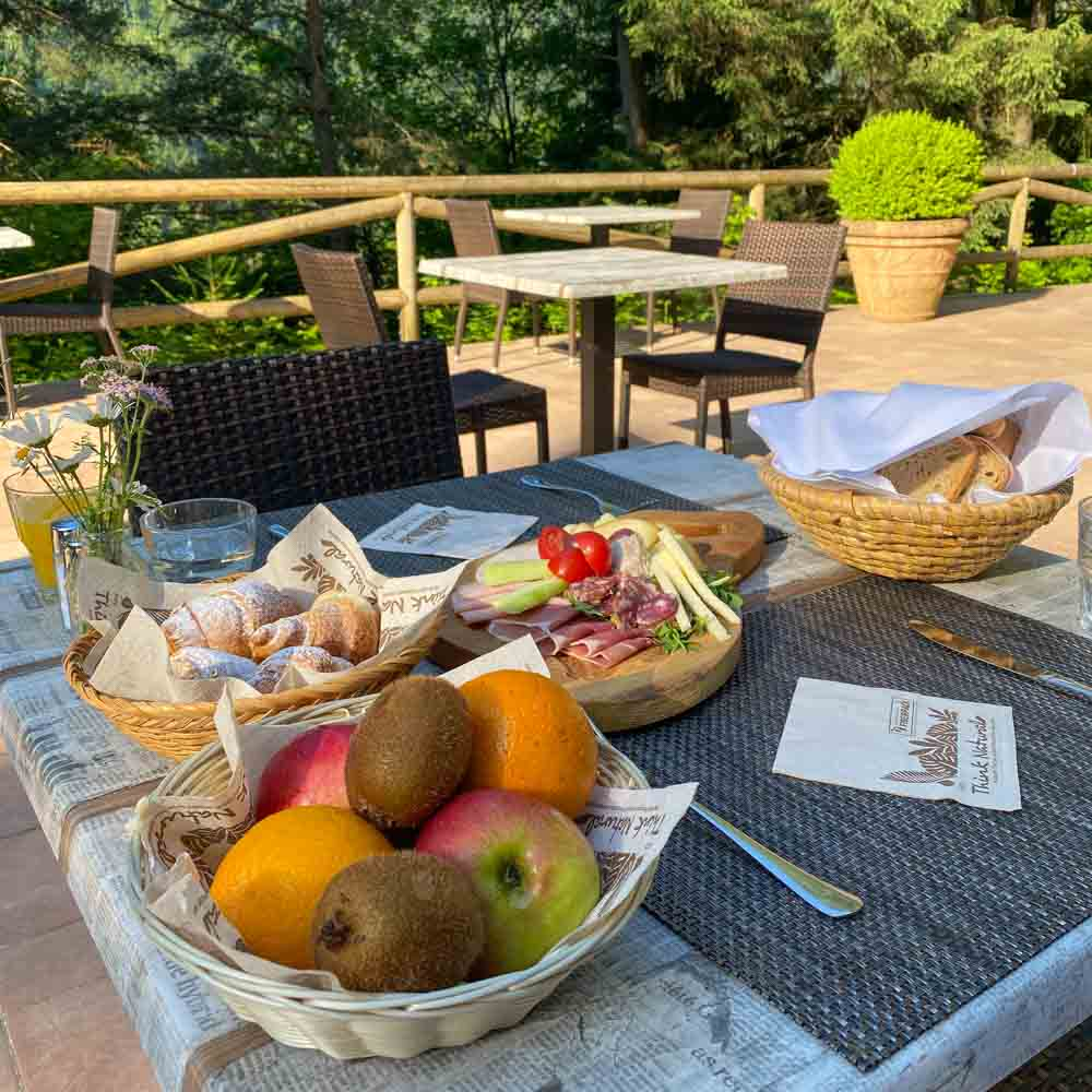 Breakfast at Hotel Ribno a cycling friendly hotel in the Julian Alps, Slovenia near Lake Bled