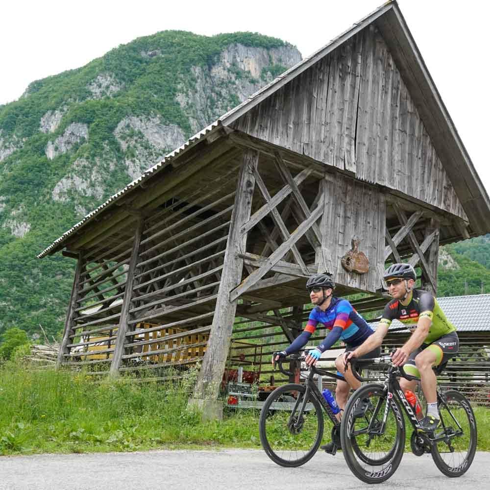 Traditional buildings near Lake Bohinj Slovenia