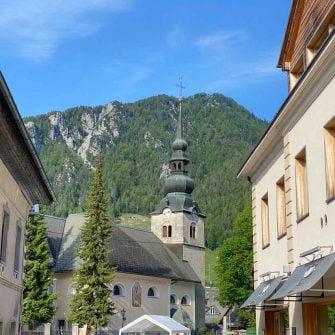 Kranjska Gora in the Slovenian Alps looking to the church