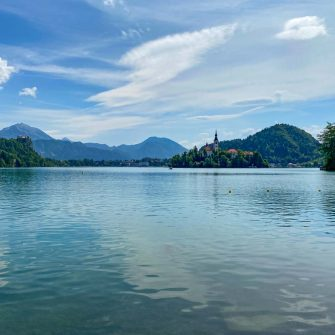 Lake Bled looking across the water to the island