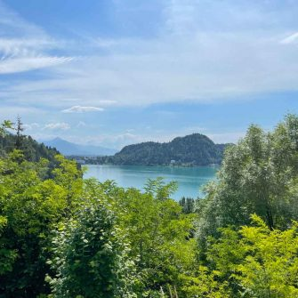 View down to Lake Bled from a cycling Slovenia route