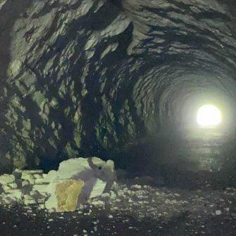 Rockfall in a tunnel on the Mangart's climb in Slovenia