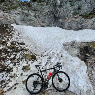 Snow blocks cycling route in Slovenia's Mangart's Saddle pass