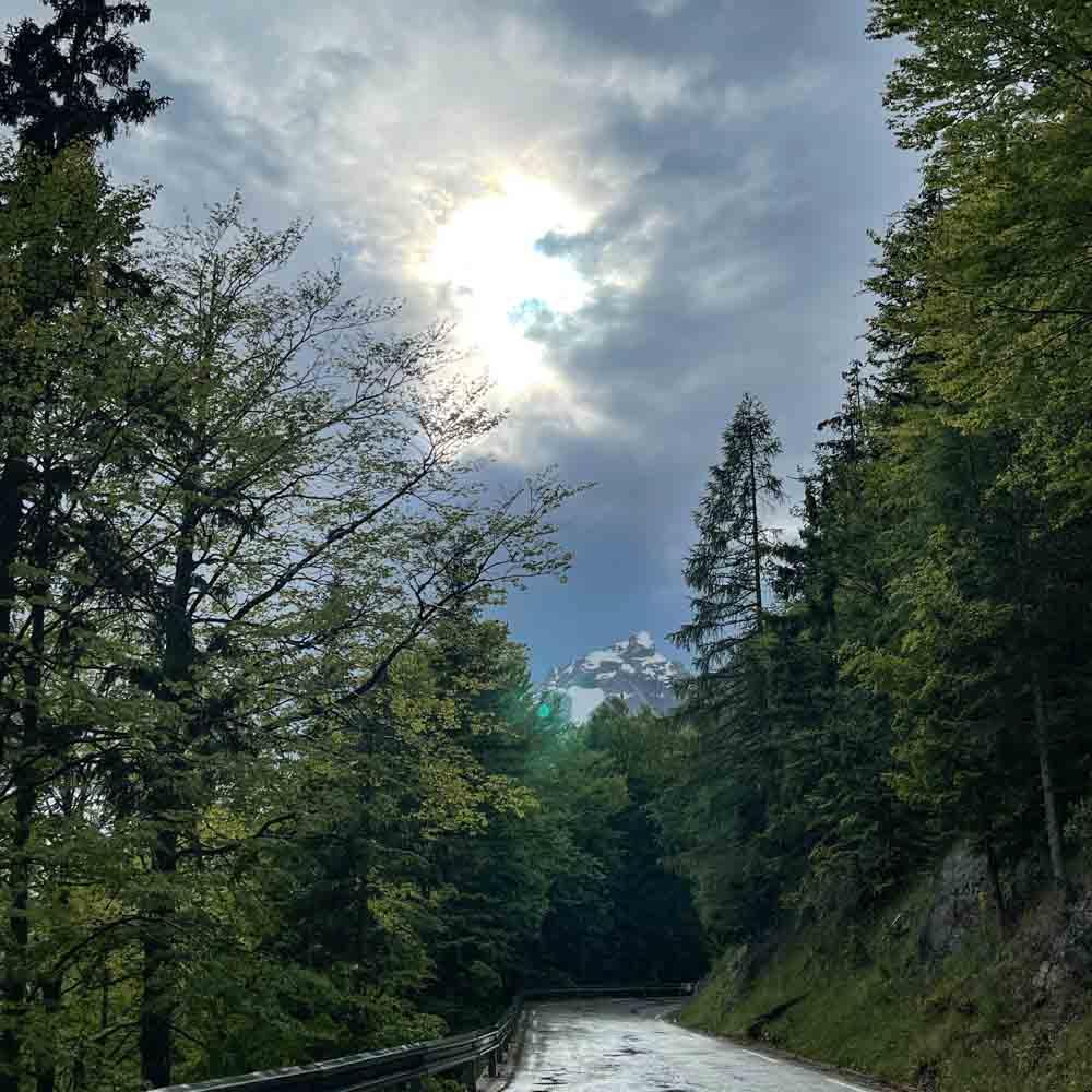 Rain on Vrisc Pass cycling Slovenian Alps