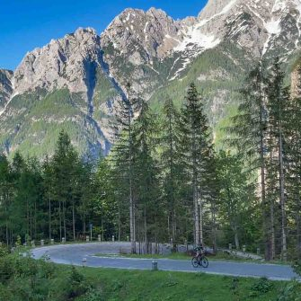 Cobbled switchback on the Vrisc Pass, Slovenia