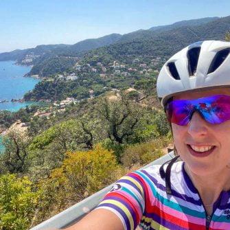 Bike and view back towards Tossa del Mar, Costa Brava