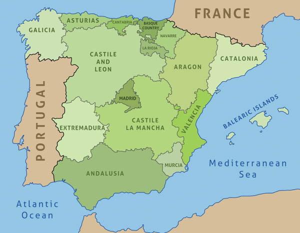 Map of spain showing regions